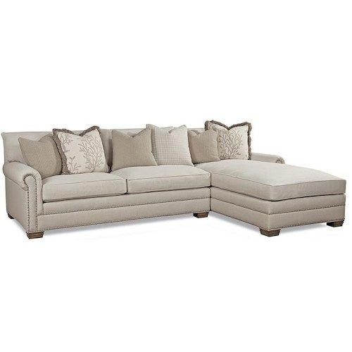 Huntington House 7107 Ryan Traditional Sectional Sofa With Nailhead With Sectional Sofas With Nailheads (Photo 9 of 10)