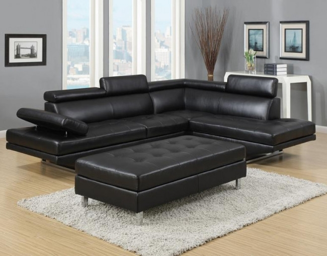 Ibiza Sectional And Ottoman Set | Furniture Distribution Center With Pertaining To Black Leather Sectionals With Ottoman (Image 9 of 10)