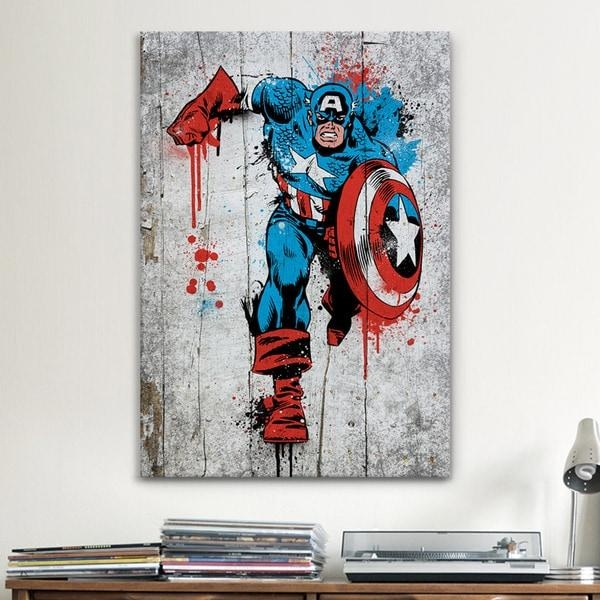 Icanvas Marvel Comic Book: Captain America Spray Paint Canvas Within Marvel Canvas Wall Art (Image 10 of 20)