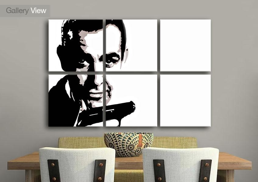 Icons Six Panel Sean Connery James Bond Icons Canvas Prints Pertaining To James Bond Canvas Wall Art (Image 4 of 20)