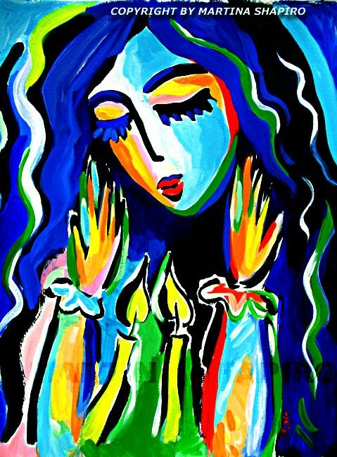 Illumination, Jewish Art, Shabbat Original Acrylic Painting Intended For Jewish Canvas Wall Art (Image 11 of 20)