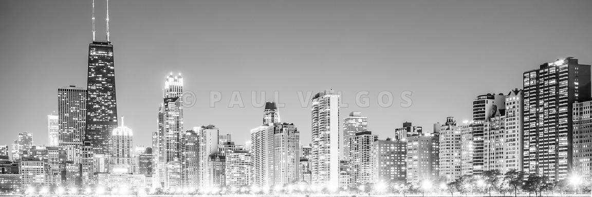 Image: Chicago Skyline Gold Coast Panorama Photo Large Canvas In Gold Coast Canvas Wall Art (Image 15 of 20)