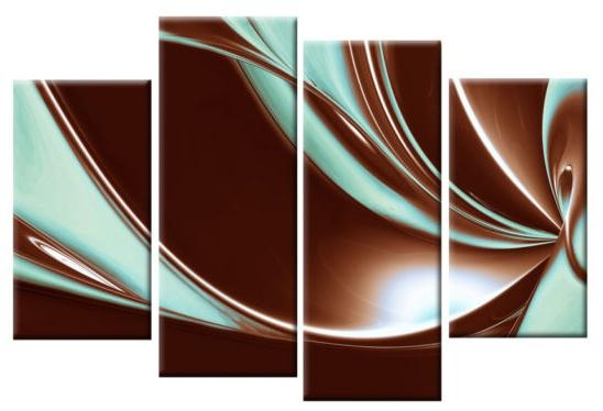 In Brown And Duck Egg Blue Large Canvas Abstract 4 Panel Wall Art In Duck Egg Canvas Wall Art (Image 9 of 20)