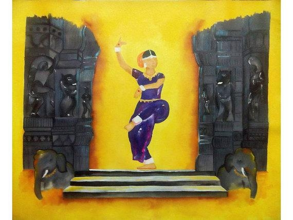India Dance Temple Columns Decor Indian Dance Abstract With India Abstract Wall Art (Photo 16 of 20)