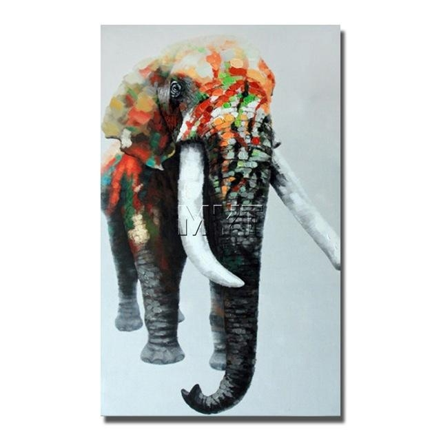 Indian Elephant Wild Animal Wall Art Paintings Dropship For In India Abstract Wall Art (Photo 18 of 20)