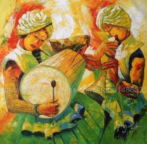 Indian Oil Painting On Canvas Painting Very Bright Large Wall In India Canvas Wall Art (Photo 19 of 20)