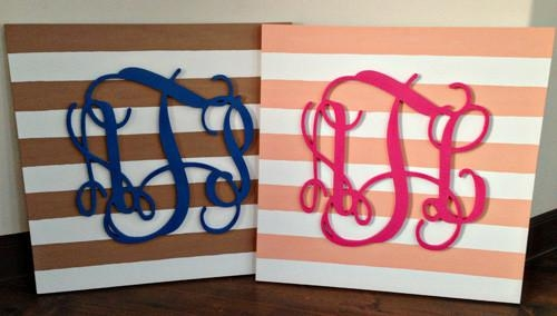 Ingenious Inspiration Monogrammed Wall Decor Diy Monogram Art Throughout Letters Canvas Wall Art (Image 12 of 20)