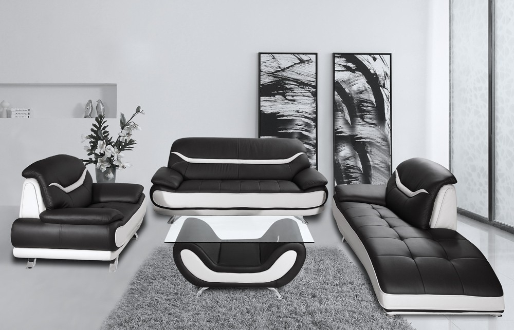 Inspiration Idea Black And White Leather Sofa Set With Home Bentley Within Black And White Sofas (Image 7 of 10)