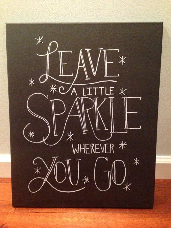 Inspirational Quote Canvas – Leave A Little Sparkle – Wall Art On Regarding Love Quotes Canvas Wall Art (Image 8 of 20)