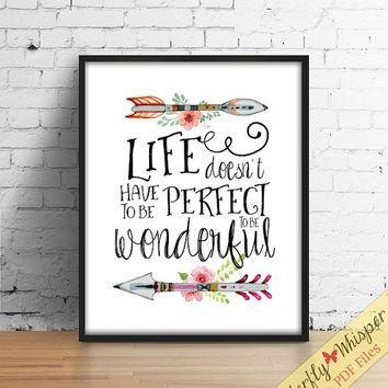 Inspirational Quote Wall Art Print, Tribal Wall Art, Canvas Quote Regarding Canvas Wall Art Quotes (Image 8 of 20)