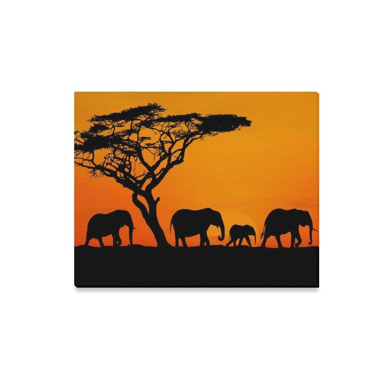 Interestprint African Elephant Sunset Safari Canvas Wall Art Print Intended For Safari Canvas Wall Art (Photo 14 of 20)