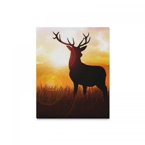 Interestprint Wildlife Deer Silhouette On Meadow Canvas Wall Art With Deer Canvas Wall Art (View 16 of 20)