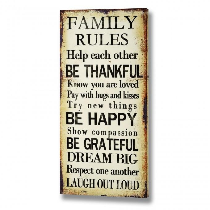 Interior & Decoration: Family Rules Canvas For Home Decoration Throughout Canvas Wall Art Family Rules (Photo 9 of 20)