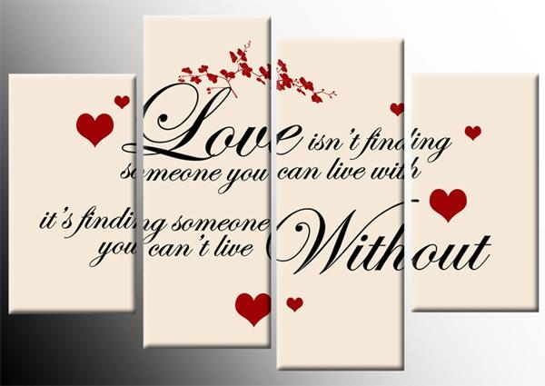 Isnt Finding Quote Red Black On Cream Canvas 4 Panel Wall Art Throughout Canvas Wall Art Family Quotes (Image 10 of 20)