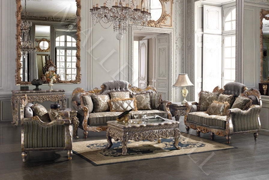 Italian Carved Tufted Silver Gold Leaf Sofa Set Sofa Loveseat Chair With Regard To Living Room Sofa And Chair Sets (Image 8 of 10)