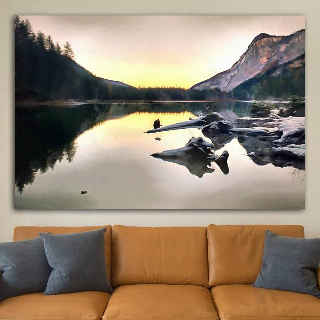 Italian Mountains Canvas, Italy Large Wall Art, Italian Lake Pertaining To Mountains Canvas Wall Art (Image 12 of 20)