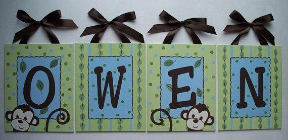 Items Similar To Personalized Green Monkey Custom Canvas Letter Within Custom Nursery Canvas Wall Art (View 19 of 20)