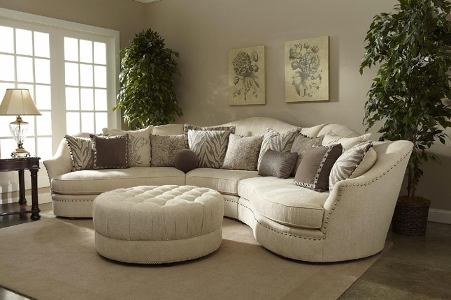 Ivory Sectional Sofa | Curved Sectional | Shop Factory Direct Within Round Sectional Sofas (Image 6 of 10)