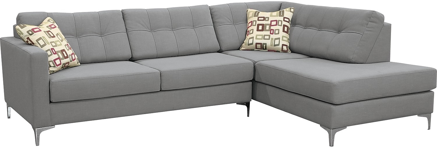 Ivy Polyester Right Facing Sectional With Sofa Bed – Grey | The Pertaining To Sectional Sofas At Brick (Image 1 of 10)