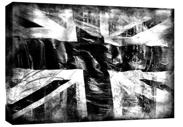 "Jack Grunge Single Canvas Picture 47"" 119 Cm Wide – Black & White With Regard To Union Jack Canvas Wall Art (View 3 of 20)"
