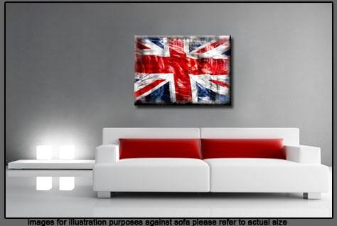 "Jack Grunge Single Canvas Picture 47"" 119 Cm Wide – Colour Options Pertaining To Union Jack Canvas Wall Art (View 7 of 20)"