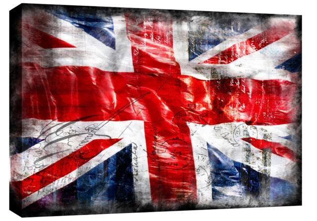 "Jack Grunge Single Canvas Picture 47"" 119 Cm Wide – Colour Options With Union Jack Canvas Wall Art (View 4 of 20)"
