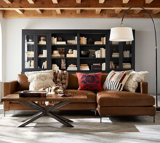 Jake Leather Sofa With Chaise Sectional | Pottery Barn Pertaining To Pottery Barn Sectional Sofas (Photo 1 of 10)