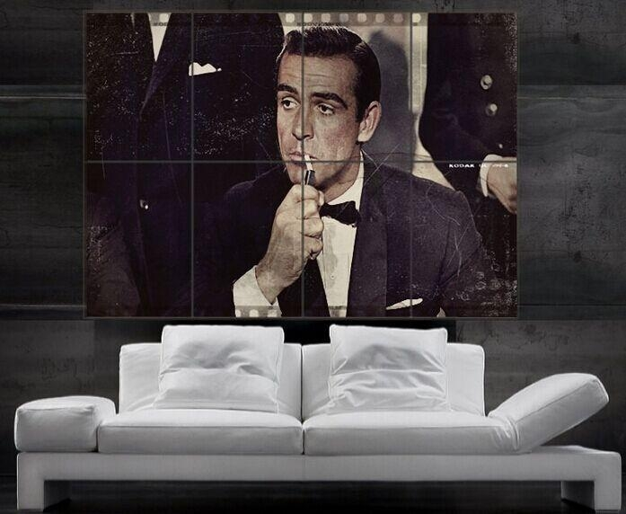 James Bond Sean Connery 007 Print Art Huge 8 Parts Wall Picture Intended For James Bond Canvas Wall Art (Image 12 of 20)
