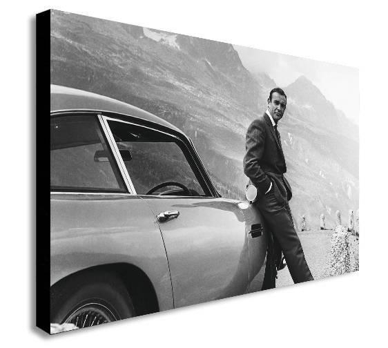 James Bond Sean Connery Aston Martin Canvas Wall Art Print Throughout James Bond Canvas Wall Art (Image 13 of 20)