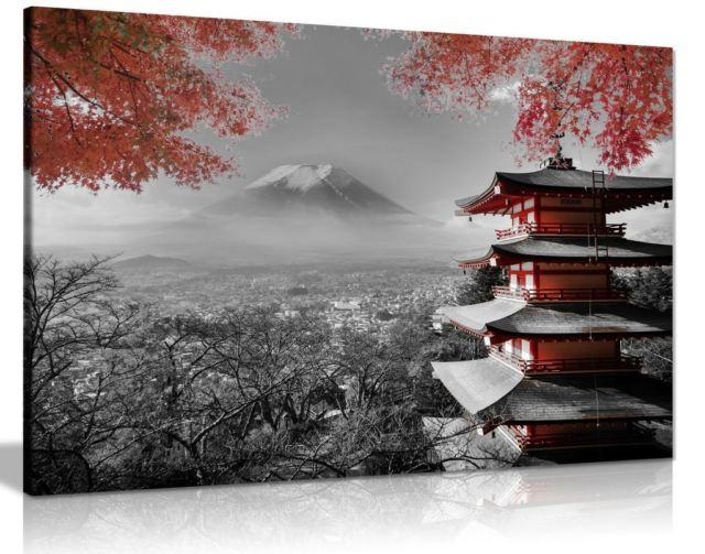 Japanese Temple In Autumn Black White Red Canvas Wall Art Picture Intended For Japanese Canvas Wall Art (Image 10 of 20)
