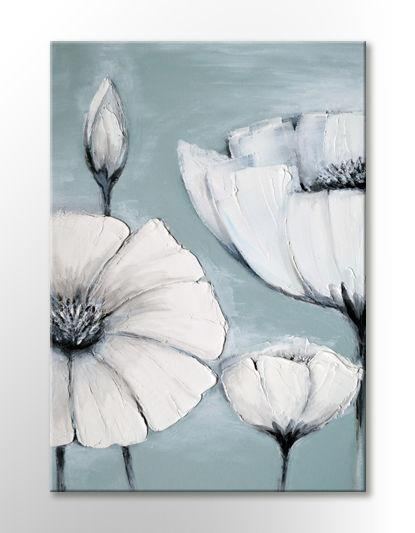Japanese White Grey Flower Picture Peaceful Canvas Wall Art Print Inside Duck Egg Blue Canvas Wall Art (Image 11 of 20)