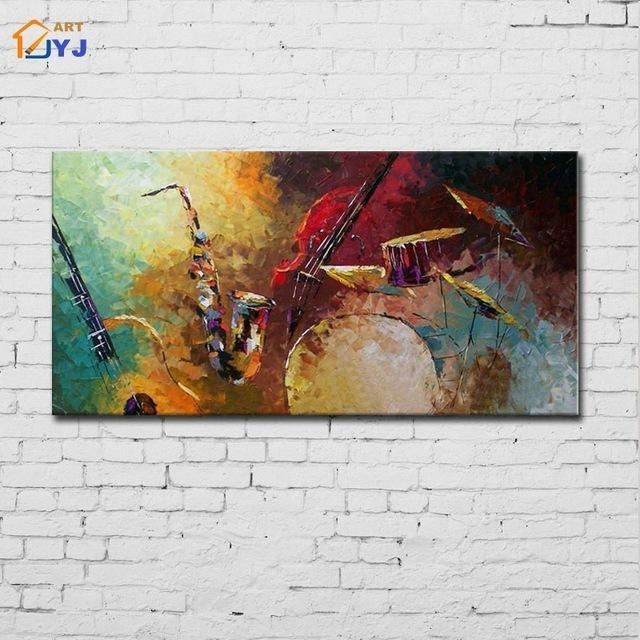 Jazz Drum Kit Music Canvas Wall Art Hand Painted Modern Abstract In Jazz Canvas Wall Art (Photo 13 of 20)
