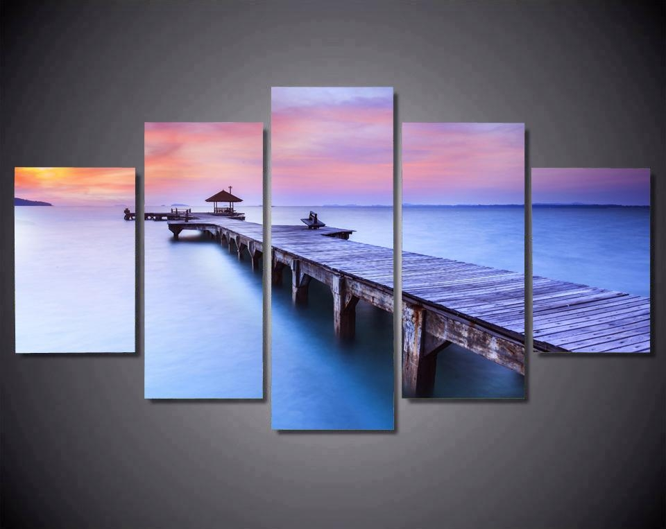 Jetty Sunrise Bridge Over Sea With Pavilion Canvas Prints 5 Pieces For Jetty Canvas Wall Art (Image 15 of 20)