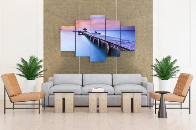 Jetty Sunrise Bridge Over Sea With Pavilion Canvas Prints 5 Pieces With Regard To Jetty Canvas Wall Art (Photo 15 of 20)