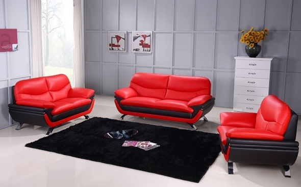 Jonus Red/black Sofa Jonus Beverly Hills Furniture Leather Sofas At Regarding Red And Black Sofas (Image 3 of 10)