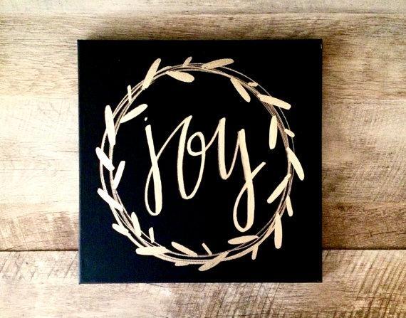 Joy Wreath Canvas Sign 12X12 Home Decor Christmas Sign In Joy Canvas Wall Art (Image 13 of 20)
