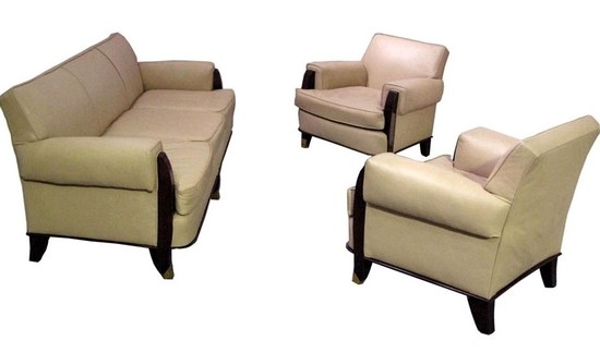 Jules Leleu French Art Deco Sofa & Two Armchairs | Modernism Gallery With Sofa Arm Chairs (Photo 7 of 10)