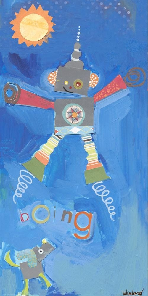Jumping Robot Canvas Wall Artoopsy Daisy – Rosenberryrooms Throughout Robot Canvas Wall Art (Image 7 of 20)