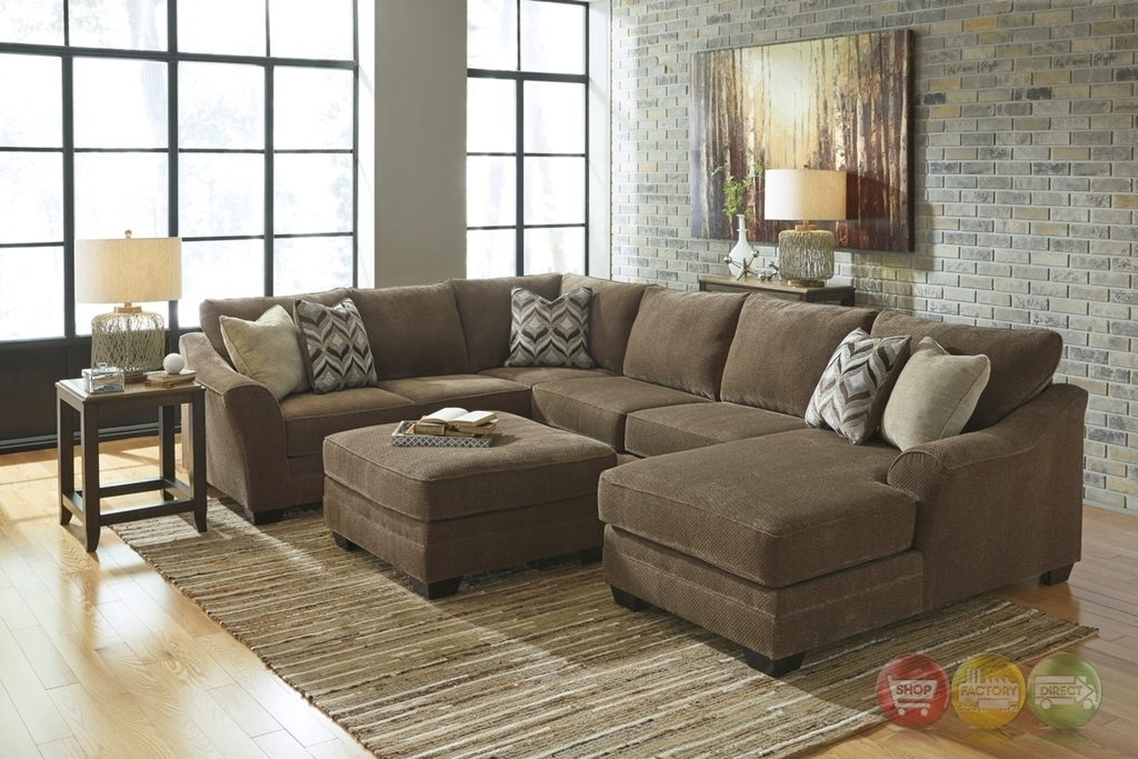 Justyna Teak Deluxe Brown Large U Shaped Sectional Sofaashley Regarding U Shaped Sectional Sofas (Image 3 of 10)