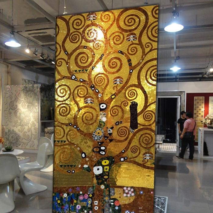 Jy Gmw02 Gold Glass Pattern Mural Abstract Glass Mosaic Luxury In Abstract Mosaic Art On Wall (Image 11 of 20)