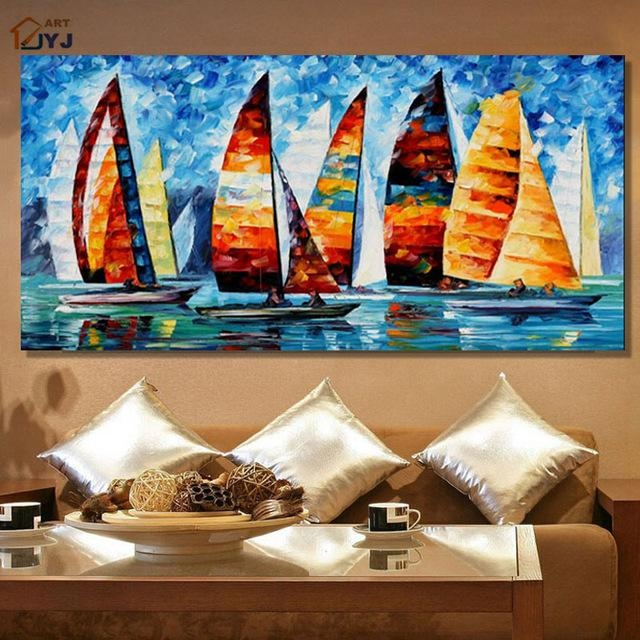 Jyj Art Thick Texture Yacht Race 100% Hand Painted Modern Abstract Pertaining To Modern Abstract Oil Painting Wall Art (Photo 15 of 20)
