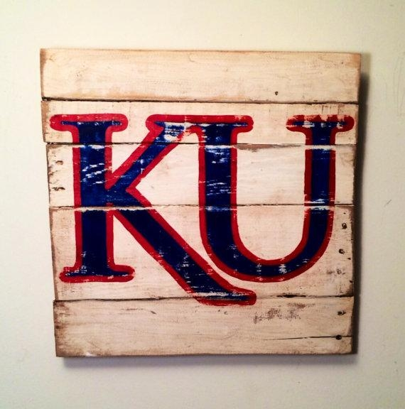 Kansas Jayhawks Sign / University Of Kansaspalletsandpaint With Regard To Ku Canvas Wall Art (Image 10 of 20)