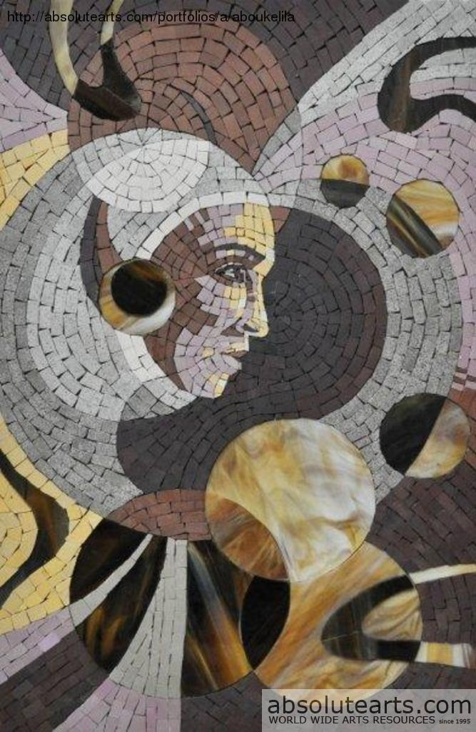 Karim Aboukelila Artwork: Mosaic Abstract Realistic Portrait Pertaining To Abstract Mosaic Art On Wall (Image 12 of 20)