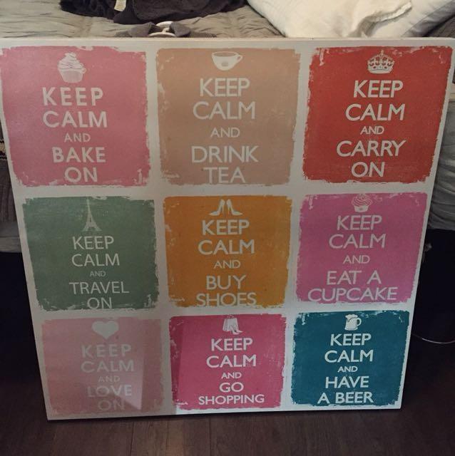 Keep Calm Canvas Wall Art, Home & Furniture On Carousell With Keep Calm Canvas Wall Art (Image 16 of 20)