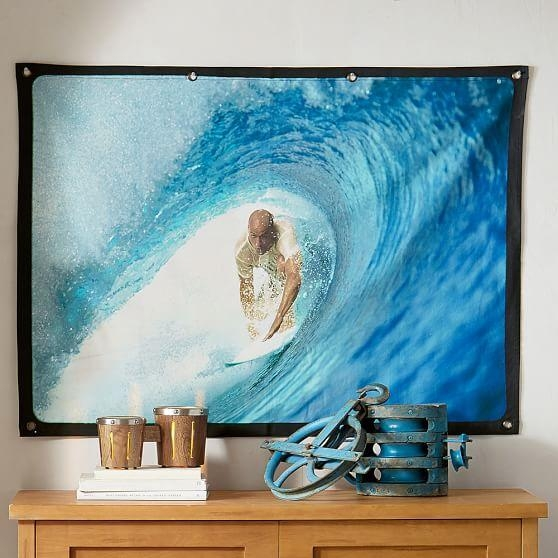 Kelly Slater Eco Canvas Wall Mural, Shortboard | Pbteen Throughout Murals Canvas Wall Art (Image 9 of 20)