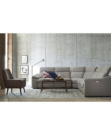 Kelsee 5 Pc Fabric Sectional Sofa With 3 Power Recliners, Only At In Sectional Sofas With Power Recliners (Image 4 of 10)