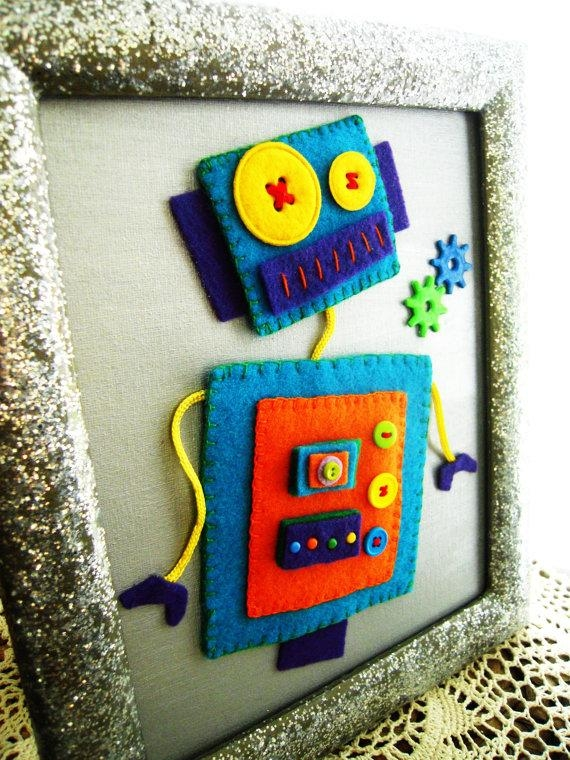 Kids Canvas Wall Art Boys Room Decor Childrens / Nursery 3D Felt Throughout Robot Canvas Wall Art (Image 8 of 20)