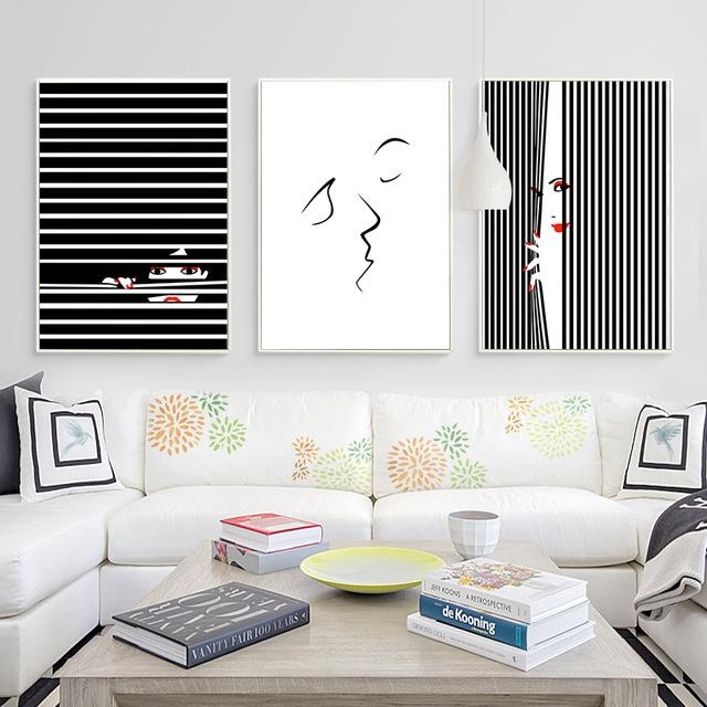 Kiss Abstract Canvas Art Posters And Prints Minimalist Black White Throughout Abstract Wall Art Posters (Image 9 of 20)