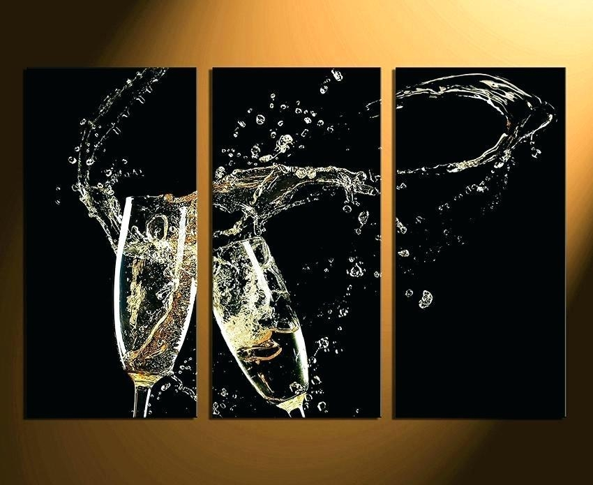 Kitchen Canvas Wall Art For 3 Piece Wall Art Home Decor Champagne  Throughout Kitchen Canvas Wall
