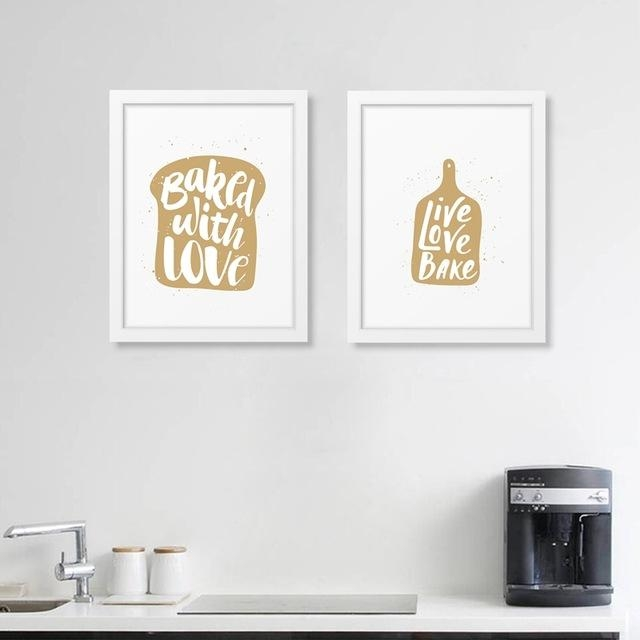 Kitchen Quote Art Prints Canvas Painting Poster Bakery Baked With With Love Canvas Wall Art (Image 11 of 20)